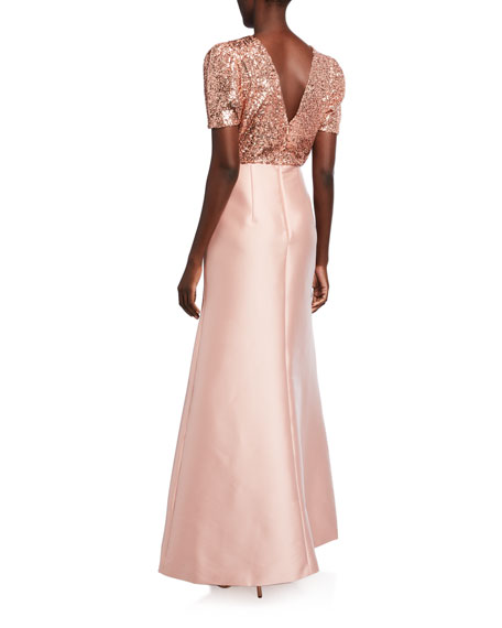 Sachin & Babi Margot Sequin Bodice Short-Sleeve Twill Skirt A-Line Gown