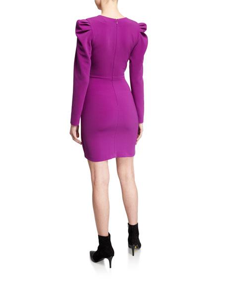 Sachin & Babi Agnes Plunge V-Neck Long-Sleeve Twist-Front Mutton Dress