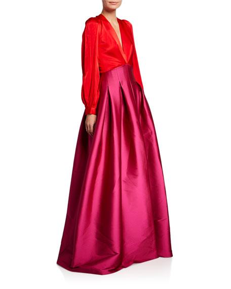 Sachin & Babi Juliette Colorblock V-Neck Long-Sleeve Gown w/ Twill Skirt