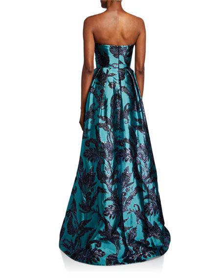 Theia Couture Strapless Bustier Brocade A-Line Gown with Draped Bodice