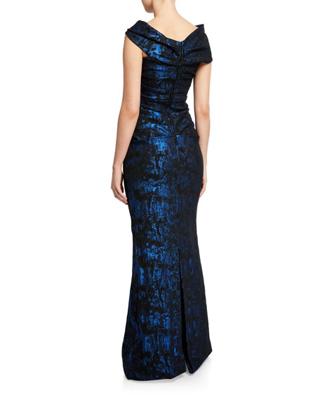 Rickie Freeman for Teri Jon Stretch Jacquard Draped Off-the-Shoulder Gown