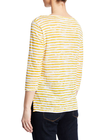 Majestic Filatures Boat-Neck 3/4-Sleeve Striped Linen Tee