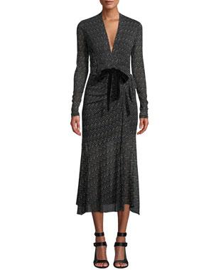 1d462bbaa945f Diane von Furstenberg Crystal Tie-Front Printed Long Cocktail Dress
