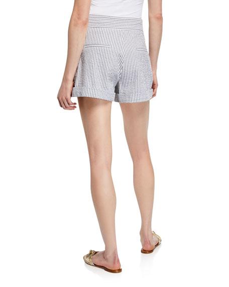 Veronica Beard Carito Striped Cuffed Shorts