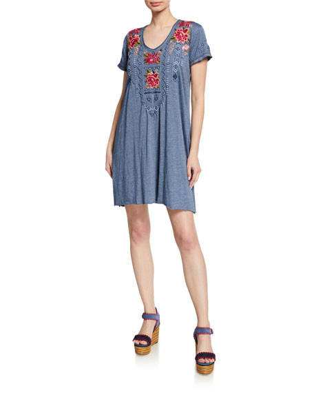 Johnny Was Davis Scoop-Neck Short-Sleeve Jersey Dress w/ Embroidery
