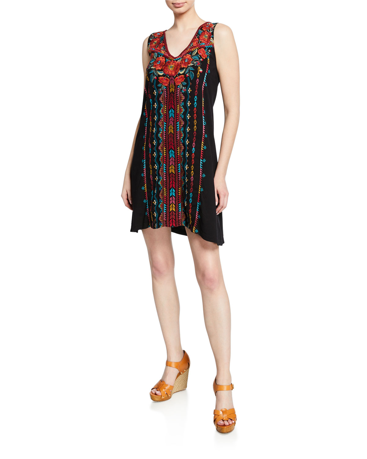Plus Size Ornelia Embroidered Scoop-Neck Tank Dress