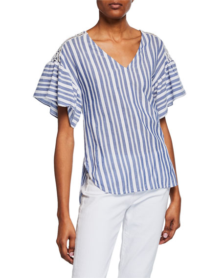 MICHAEL Michael Kors Summer Textured Striped V-Neck Ruffle-Sleeve Top