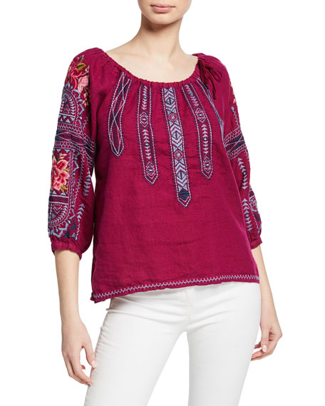 Johnny Was Davis Scoop-Neck 3/4-Sleeve Linen Top w/ Tie-Detail