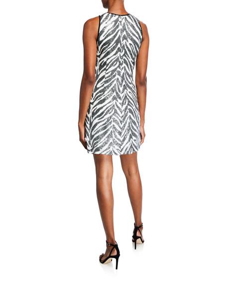 SHO Zebra Sequin Mini Halter Dress