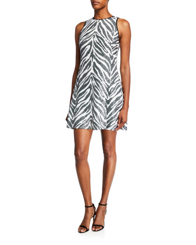 Zebra Sequin Mini Halter Dress