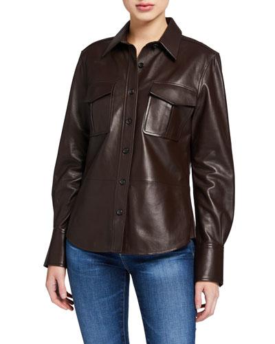 Garcella Button-Front Leather Blouse