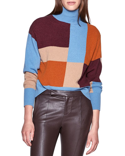 Voulaise Colorblock Turtleneck Sweater