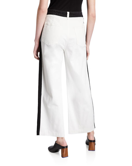FRAME Ali Wide-Leg Crop Raw-Edge Jeans with Side Panels