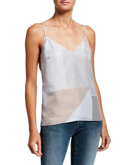 FRAME Striped V-Neck Silk Cami