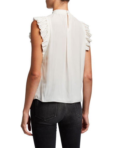FRAME Pleated Ruffle-Trim Sleeveless Top