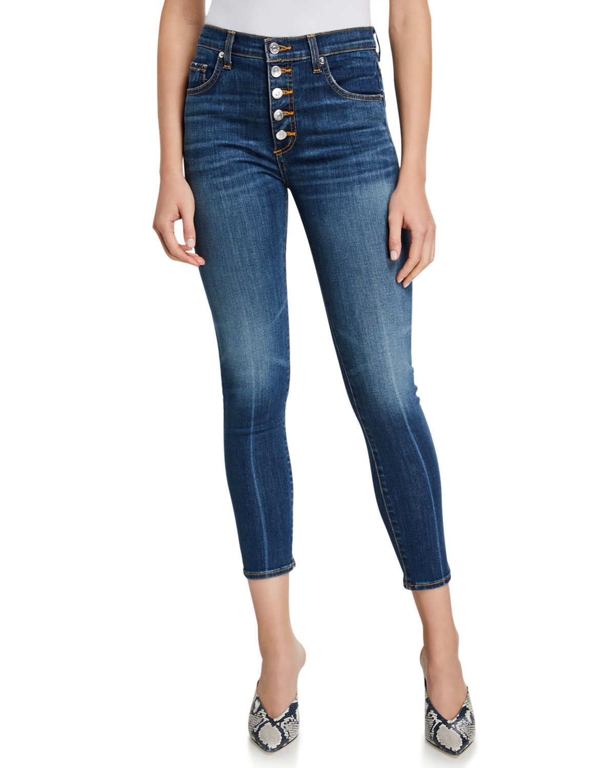 Veronica Beard Jeans Debbie High-Rise Cropped Skinny Jeans