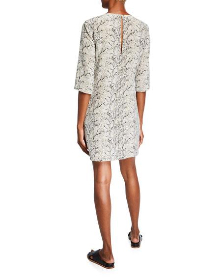 Equipment Aubrey Python Half-Sleeve Mini Silk Dress