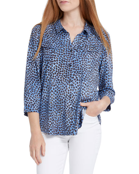 Nic+zoe Tops LEOPARD DOT BUTTON-FRONT TOP