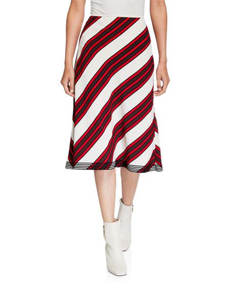 Tory Burch Diagonal Striped A-Line Skirt