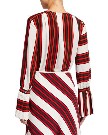 Tory Burch Striped Flare-Sleeve Silk Blouse