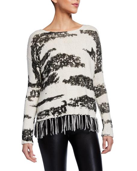 Lisa Todd Chalet Animal Print Sweater w/ Fringe Trim