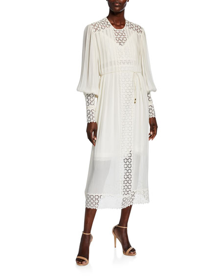 Zimmermann Resistance Smocked Dress with Lace