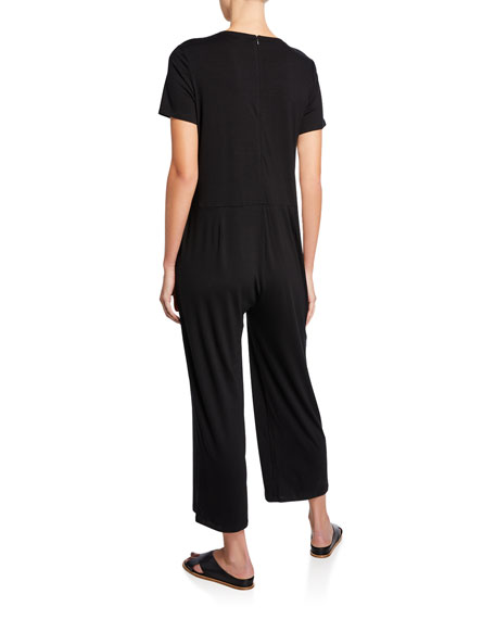 Eileen Fisher Plus Size Short-Sleeve Straight-Leg Cropped Jersey Jumpsuit