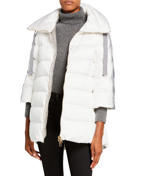 Herno Knit Arm-Warmer Puffer Coat