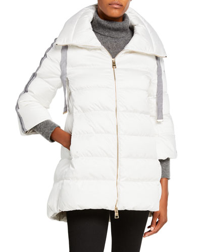 Knit Arm-Warmer Puffer Coat