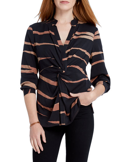 Abstract Animal Print Twist Front Top by Nic+Zoe