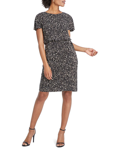 NIC+ZOE Petite Letterpress Short-Sleeve Dress