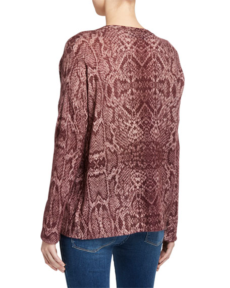 360Sweater Khloe Snake-Print Cashmere Sweater