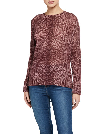 360 Sweater KHLOE SNAKE-PRINT CASHMERE SWEATER