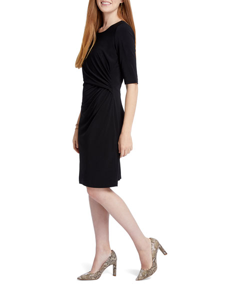 NIC+ZOE Petite Fundamental Drape Elbow-Sleeve Shift Dress