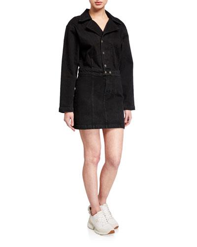 Margo Button-Front Denim Dress