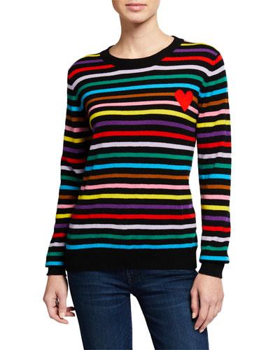 Striped Cashmere Heart-Intarsia Sweater