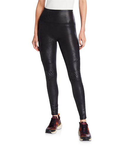 Quilted Faux-Leather Leggings
