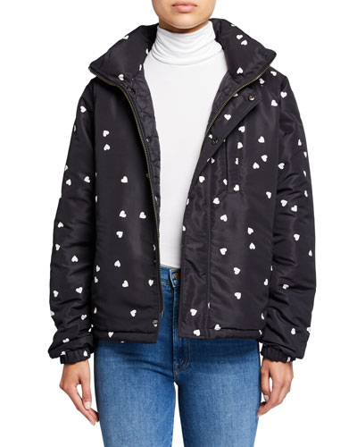 Reversible Heart-Print Quilted Puffer Jacket