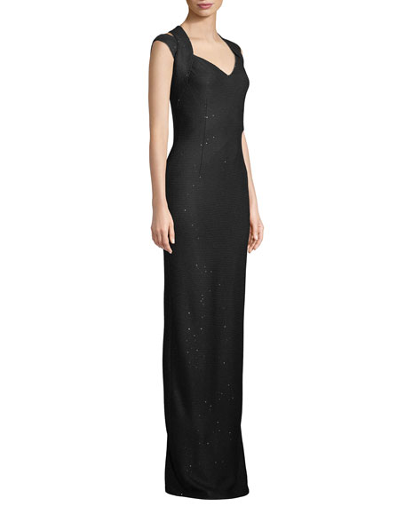 St. John Collection Links Sequin Knit Drape Halter Column Gown