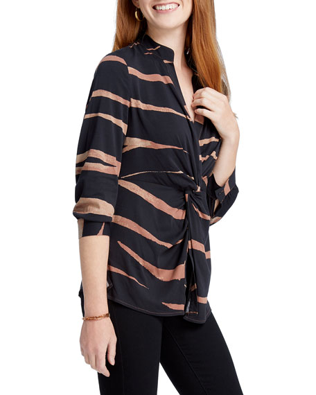 NIC+ZOE Plus Size Abstract Animal Print Twist-Front Top