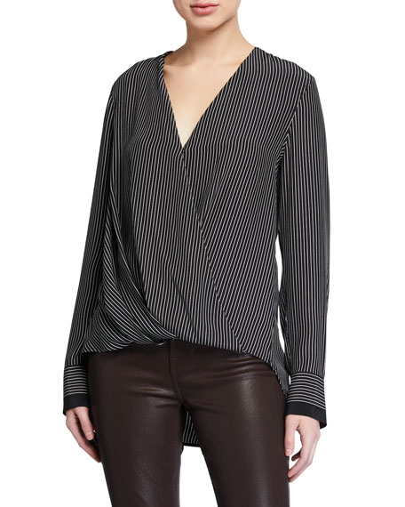 Rag & Bone Victor Striped Silk Wrap Blouse