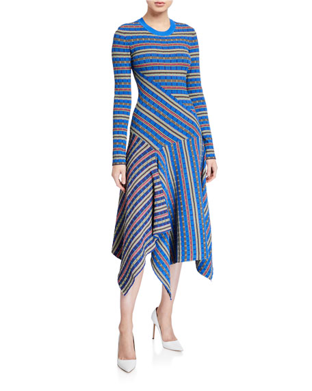 Opening Ceremony Rib-Knit Printed Asymmetrical Midi Dress