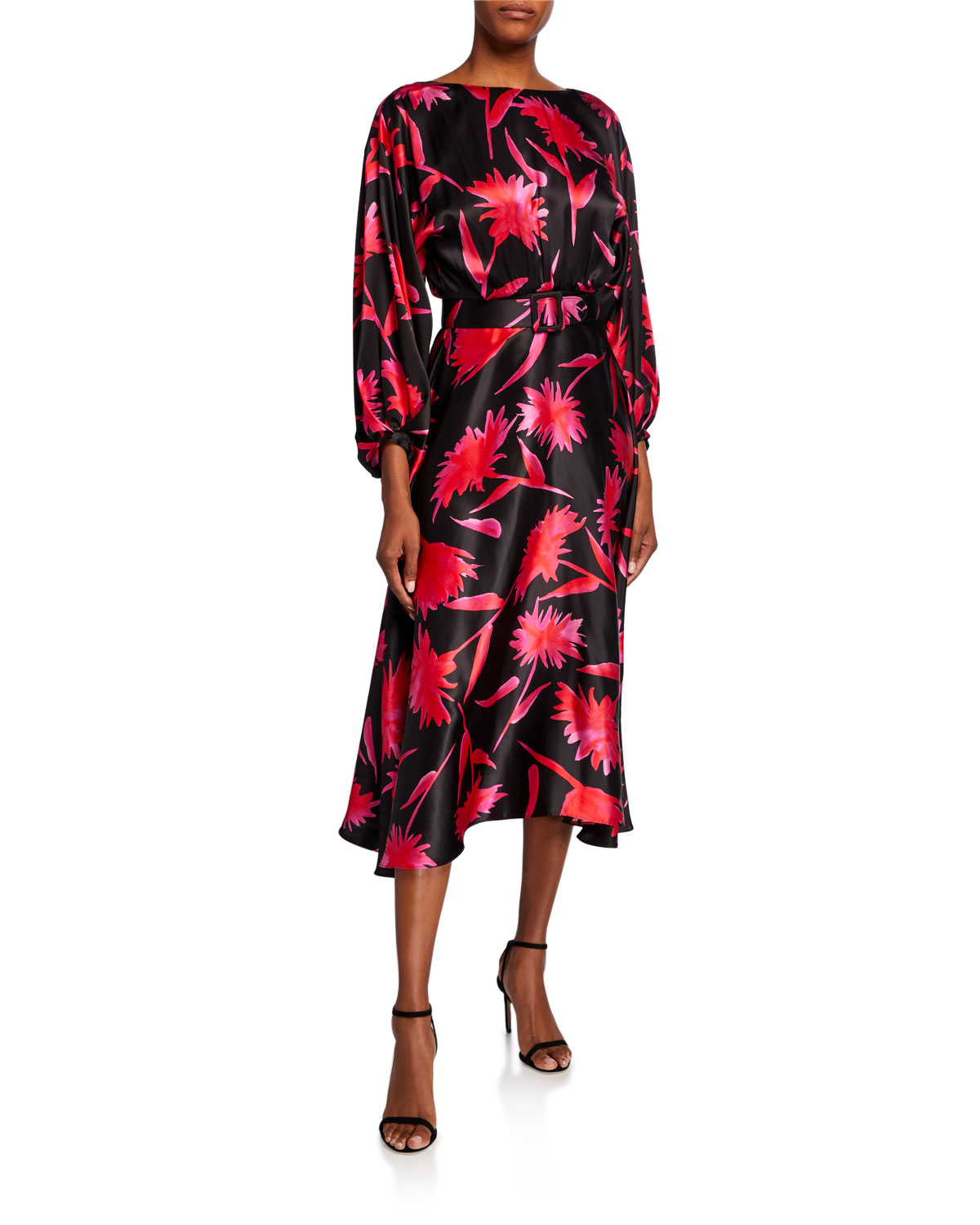 Saloni Kim Printed Blouson-Sleeve Midi Dress