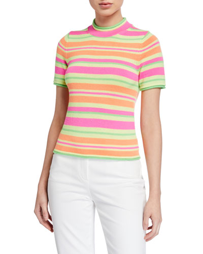 Short-Sleeve Fluorescent Knit Striped Sweater