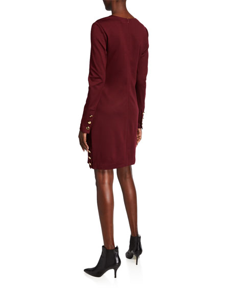 Image 2 of 2: Trina Turk Shiraz V-Neck Long-Sleeve Ponte Dress w/ Button Accents