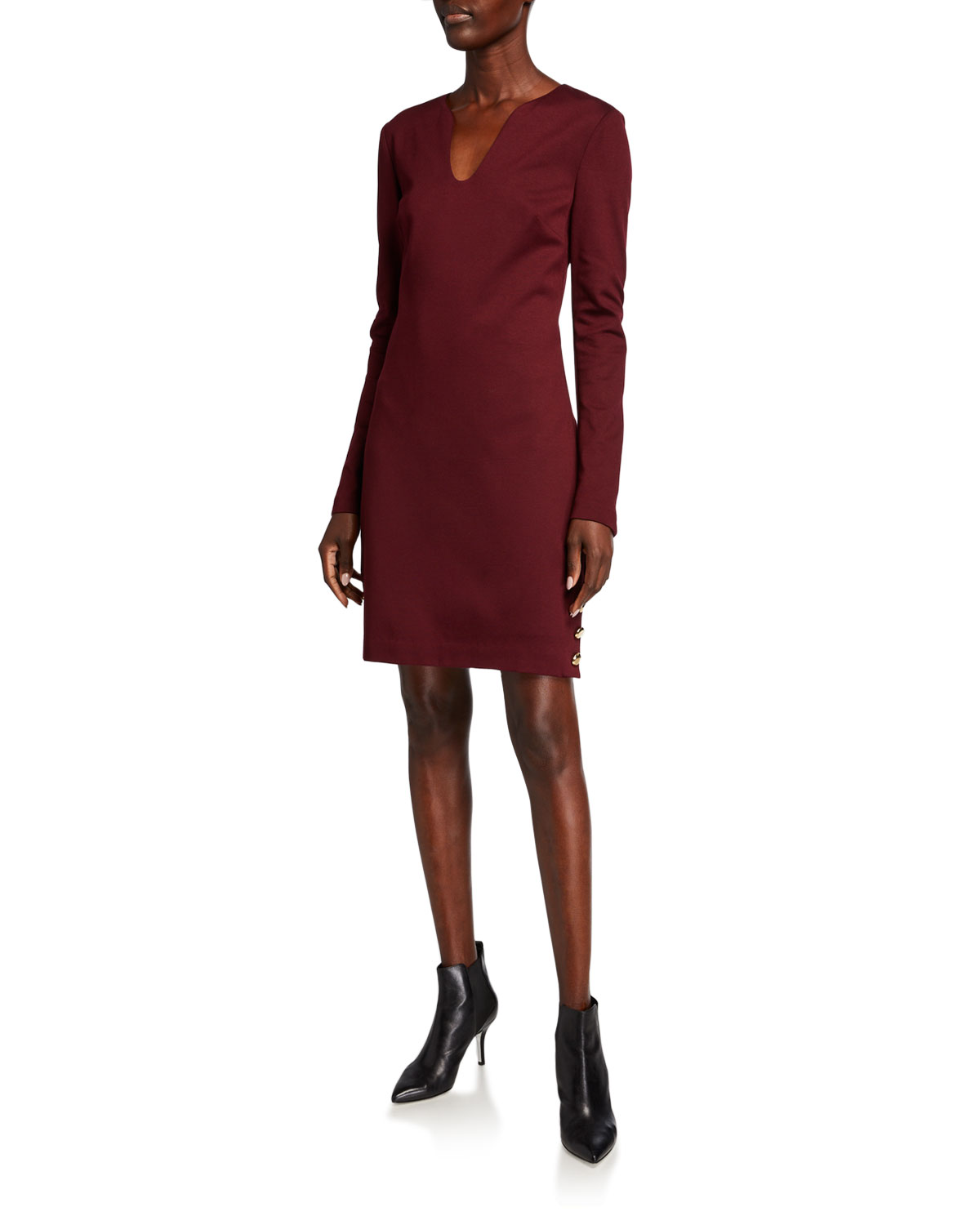 Trina Turk Shiraz V-Neck Long-Sleeve Ponte Dress w/ Button Accents