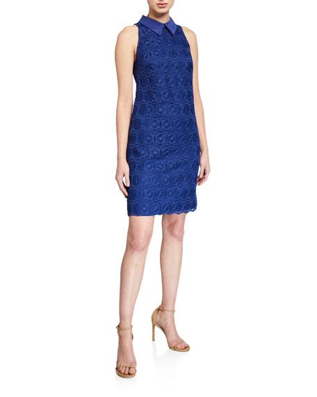 Trina Turk Blend Collared Sleeveless Lace Dress