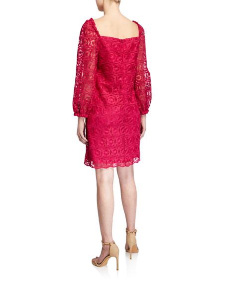 Trina Turk Bottle Square-Neck Long-Sleeve Lace Dress