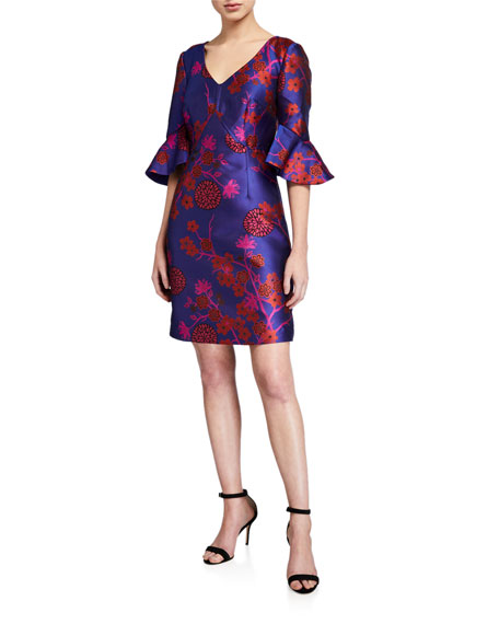 Trina Turk Petite Sirah Floral V-Neck Ruffle-Sleeve Sheath Dress