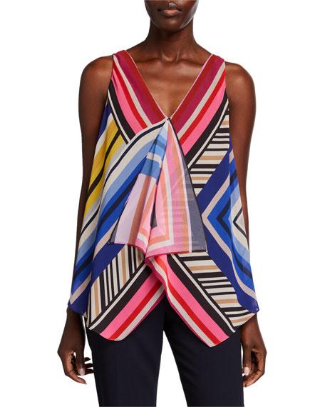 Trina Turk Pinot Gris Striped V-Neck Sleeveless Top